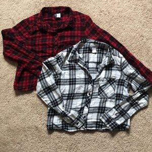 Red/Black/White Cropped Flannels
